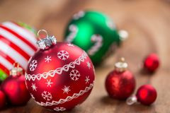 Festive Red Christmas Ball Decorations Stock Image