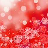 Festive red Christmas with bokeh lights. EPS 8 Royalty Free Stock Image
