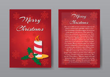 Festive Red Christmas Brochure , Greeting Card , Template. Vector Illustration EPS10 Royalty Free Stock Photography