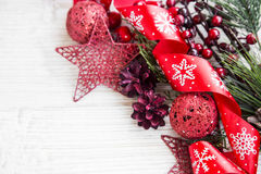 Festive Red Christmas Decoration with Glitter Ribbon,Cones and S Stock Photography