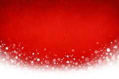 Frozen red Christmas background. Festive red Christmas and white snowflakes background Stock Photos