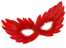 Festive Red Feathers with Sequin dress mask. Fancy Vintage Festive Red Feathers with Sequin dress mask isolated on white background Royalty Free Stock Images