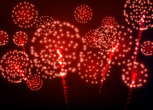 Festive red firework background. Stock Photos