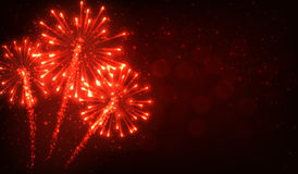 Festive red firework background. Vector illustration Stock Photos