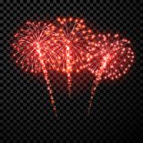 Festive red firework background. Vector illustrationr Stock Photos