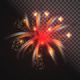 Festive red firework vector with glowing sparkles. Exploding light sparks Royalty Free Stock Photo