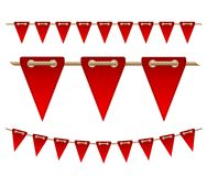 Festive red flags on white background. Vector illustration Stock Photos