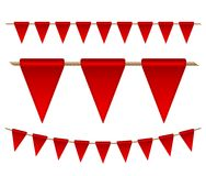 Festive red flags on white background. Vector illustration Royalty Free Stock Images