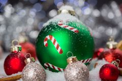 Festive Red and Green Christmas Ball Decorations Royalty Free Stock Image