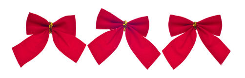 Festive Red Holiday Bows Royalty Free Stock Photography