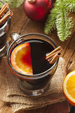 Festive Red Hot Spiced Wine For Christmas Stock Photo