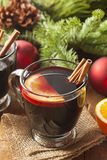 Festive Red Hot Spiced Wine For Christmas Royalty Free Stock Photo