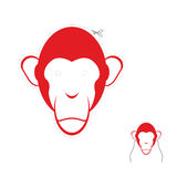 Festive red monkey mask. Symbol of new year. Festive red monkey mask.  Symbol of new year Royalty Free Stock Images