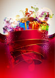 Festive red poster. Festive poster. Gifts and colored ribbon Stock Photos