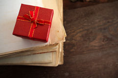 Festive red square gift box Royalty Free Stock Photo