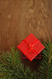 Festive red square gift box Stock Photography