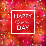 Festive red Valentines Day vector card design Stock Photography