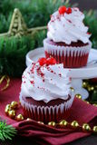 Festive red velvet cupcakes Christmas Royalty Free Stock Images