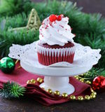 Festive red velvet cupcakes Christmas Stock Photography