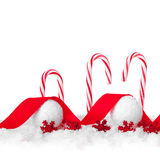 Festive Red and White Peppermint Candy Canes Stock Photos