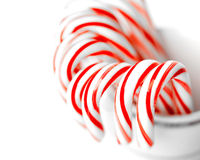 Festive Red and White Peppermint Candy Canes Stock Image
