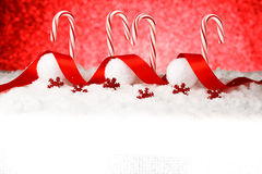Festive Red and White Peppermint Candy Canes Royalty Free Stock Photos