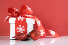 Festive red and white theme Christmas gift box Royalty Free Stock Photography