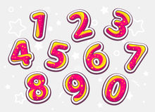 festive red and yellow set of numbers on light pattern ba Stock Image