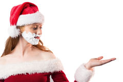 Festive redhead in foam beard Royalty Free Stock Images