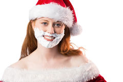Festive redhead in foam beard Stock Photo
