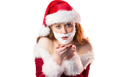 Festive redhead in foam beard Royalty Free Stock Photography
