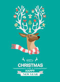 Festive reindeer with message vector Royalty Free Stock Image