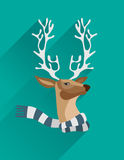 Festive reindeer with scarf vector. Digitally generated Festive reindeer with scarf vector Stock Image