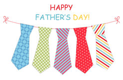 Festive retro garland with ties of primitive prints as greeting card for Father`s day. Festive retro garland with ties of primitive prints as greeting card Happy Royalty Free Stock Photo