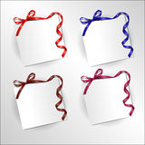 Festive ribbon with bow. Sheet of paper with a bow and twisted ribbon Royalty Free Stock Photo