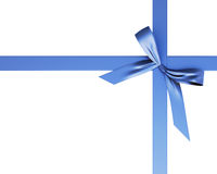 Festive ribbon with a bow of blue. Isolated on white background. 3d Stock Photography