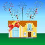 Festive ribbon. House on the lawn, tied with a festive ribbon, fireworks in the sky Stock Photo