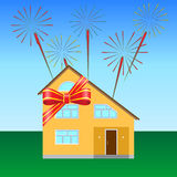 Festive ribbon. House on the lawn, tied with a festive ribbon, fireworks in the sky Royalty Free Stock Photos