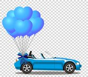 Blue opened cartoon cabriolet car with bunch of  heart shaped ba. With festive ribbon isolated on transparent background. Sport car. Vector illustration. Clip Royalty Free Stock Image