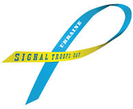 Festive ribbon Signal Troops Day royalty free illustration
