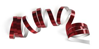 Festive ribbon on white background. Festive red ribbon on white background. Realistic vector streamers. Carnival party serpentine decoration for your banner and Royalty Free Stock Images