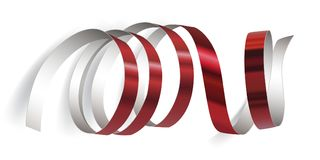 Festive ribbon on white background. Festive red ribbon on white background. Realistic vector streamers. Carnival party serpentine decoration for your banner and Royalty Free Stock Photography