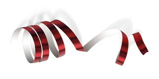 Festive ribbon on white background. Festive red ribbon on white background. Realistic vector streamers. Carnival party serpentine decoration for your banner and Royalty Free Stock Photos