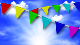 Festive ribbons on a background of the sky Royalty Free Stock Photo