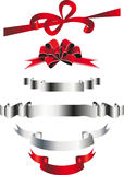 Festive ribbons and bows. Holiday ribbon and bows and banners frame for congratulations Royalty Free Stock Photo