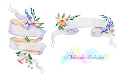 Festive ribbons for your text. Watercolor illustration. Artistic banners with flowers Stock Images
