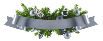 Festive rich christmas silver decoration element Stock Photography