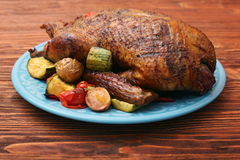 Festive roast duck with vegetables Stock Images