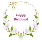 Festive round frame, banner, birthday, poster with pink stock illustration