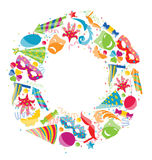 Festive round frame with carnival colorful objects, copy space f. Illustration festive round frame with carnival colorful objects, copy space for your text Royalty Free Stock Photo